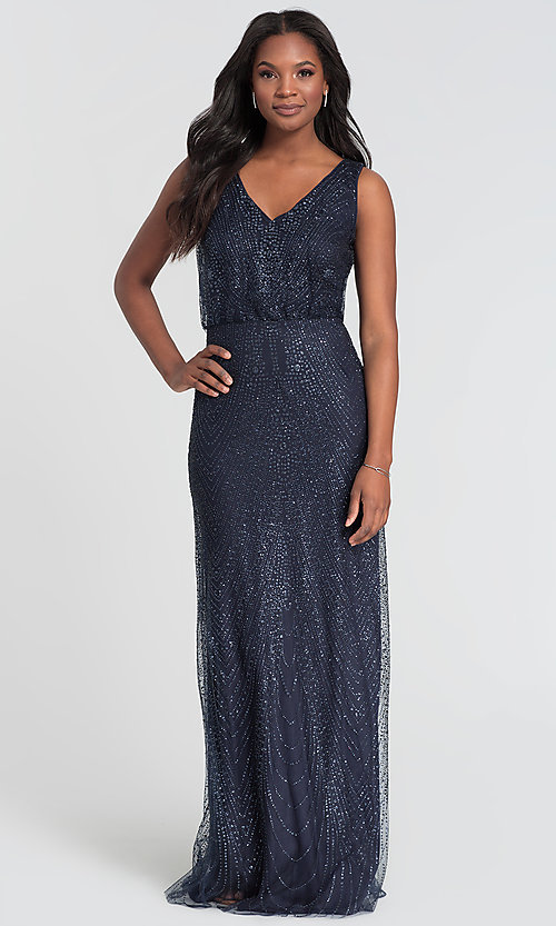 Image of Kleinfeld long glitter-mesh bridesmaid dress. Style: KL-200089 Front Image