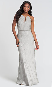 Image of high-neck long Kleinfeld beaded bridesmaid dress. Style: KL-200095 Front Image