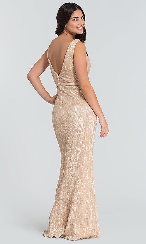 Image of long Kleinfeld sequin bridesmaid dress with slit. Style: KL-200097 Back Image