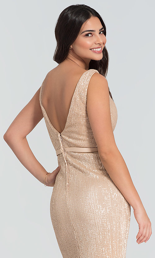 Image of long Kleinfeld sequin bridesmaid dress with slit. Style: KL-200097 Detail Image 2