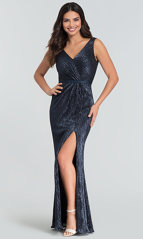 Image of long Kleinfeld sequin bridesmaid dress with slit. Style: KL-200097 Front Image
