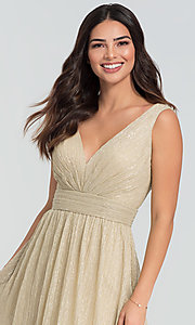 Image of sparkly long glitter-knit prom dress. Style: KL-200099 Detail Image 1