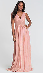 Image of sparkly long glitter-knit prom dress. Style: KL-200099 Detail Image 3