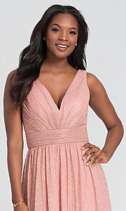 Image of sparkly long glitter-knit prom dress. Style: KL-200099 Detail Image 5
