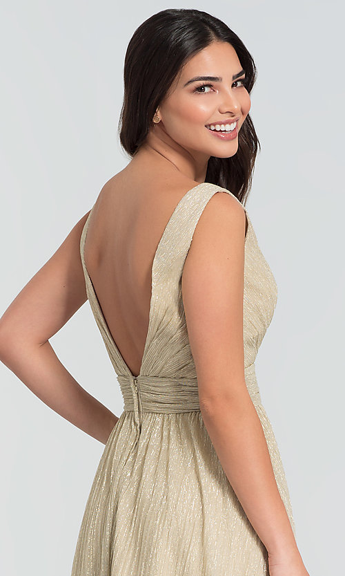 Image of sparkly long glitter-knit prom dress. Style: KL-200099 Detail Image 2