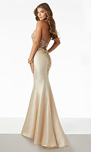Image of halter mermaid prom dress with sheer-illusion bodice. Style: ML-42025 Back Image