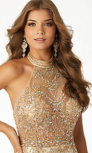Image of halter mermaid prom dress with sheer-illusion bodice. Style: ML-42025 Detail Image 3