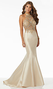 Image of halter mermaid prom dress with sheer-illusion bodice. Style: ML-42025 Detail Image 1
