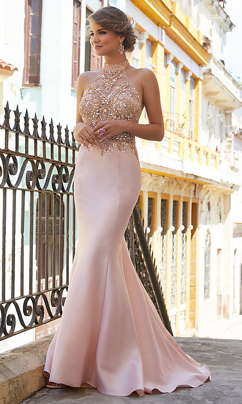 Image of halter mermaid prom dress with sheer-illusion bodice. Style: ML-42025 Front Image