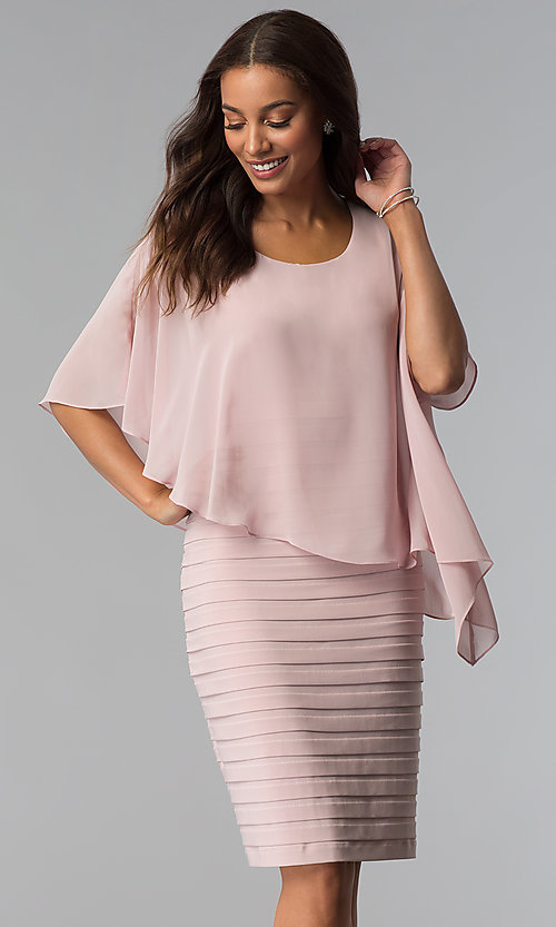 47946382b166 Image of short blush pink mother-of-the-bride dress with cape.