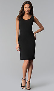 Image of knee-length black sheath dress with removable jacket. Style: SD-86650 Detail Image 2