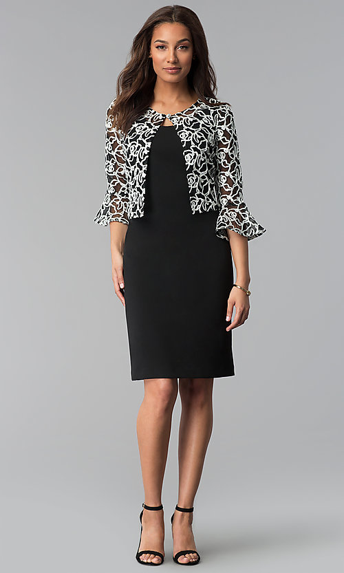 Image of knee-length black sheath dress with removable jacket. Style: SD-86650 Detail Image 1