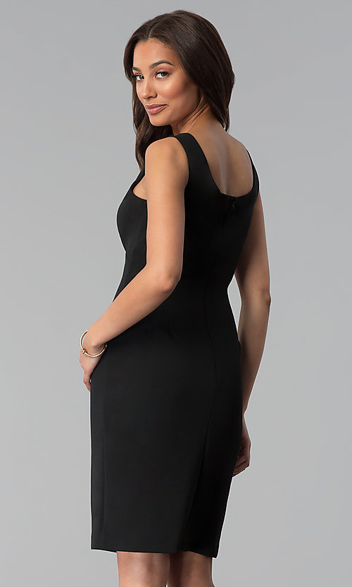 Image of knee-length black sheath dress with removable jacket. Style: SD-86650 Detail Image 3