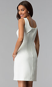 Image of short mother-of-the-bride sheath dress with jacket. Style: SD-86640 Back Image
