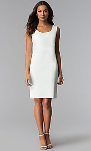 Image of short mother-of-the-bride sheath dress with jacket. Style: SD-86640 Detail Image 3