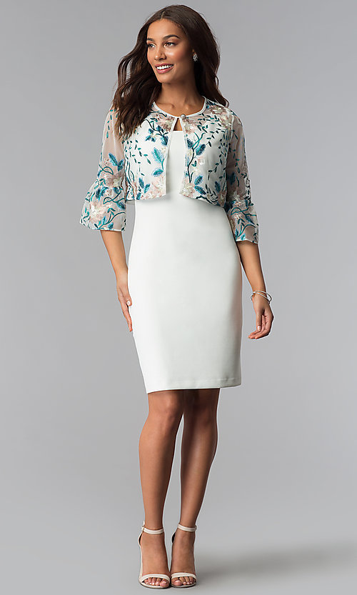 Image of short mother-of-the-bride sheath dress with jacket. Style: SD-86640 Detail Image 2