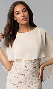 Image of short sequin-lace mother-of-the-bride dress. Style: SD-85671 Detail Image 1