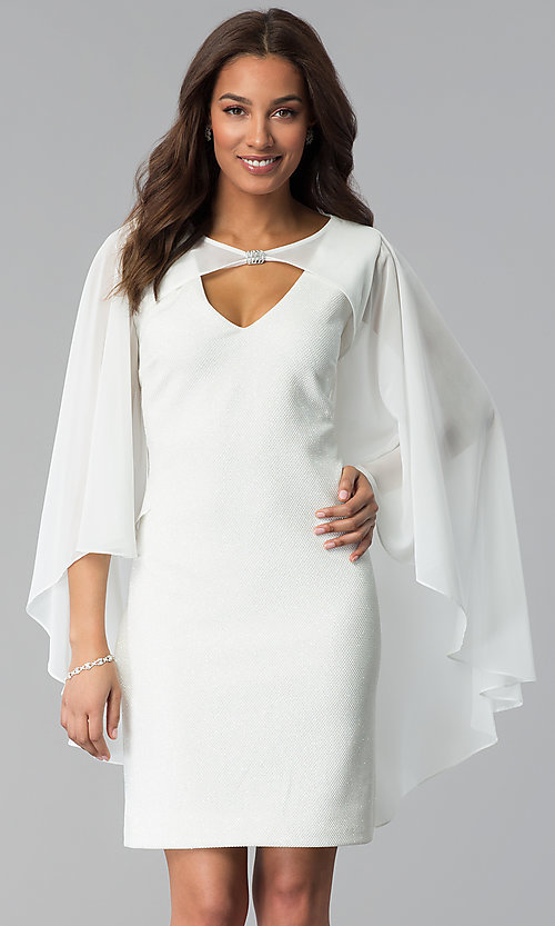 e0872142df3e Image of white v-neck cocktail dress with attached cape. Style: SD-