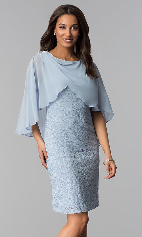aa879bdc Image of blue lace mother-of-the-bride short dress with cape.