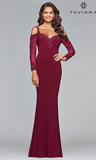 88243a6ca3d1 Jersey Sweetheart Prom Dress with Long Sleeves