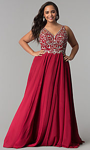 Image of plus-size beaded-bodice v-neck long prom dress. Style: DQ-2216P Front Image