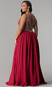 Image of plus-size beaded-bodice v-neck long prom dress. Style: DQ-2216P Back Image