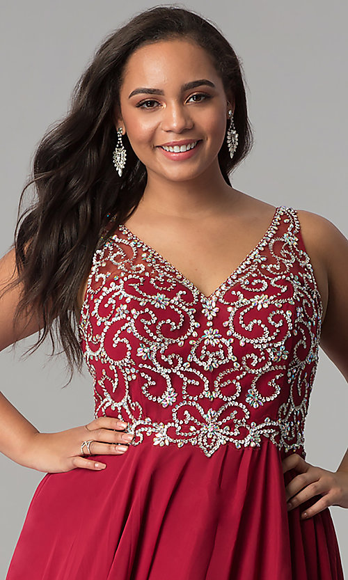 Image of plus-size beaded-bodice v-neck long prom dress. Style: DQ-2216P Detail Image 1