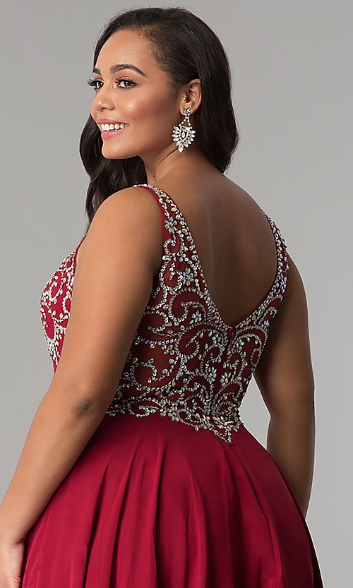 Image of plus-size beaded-bodice v-neck long prom dress. Style: DQ-2216P Detail Image 2