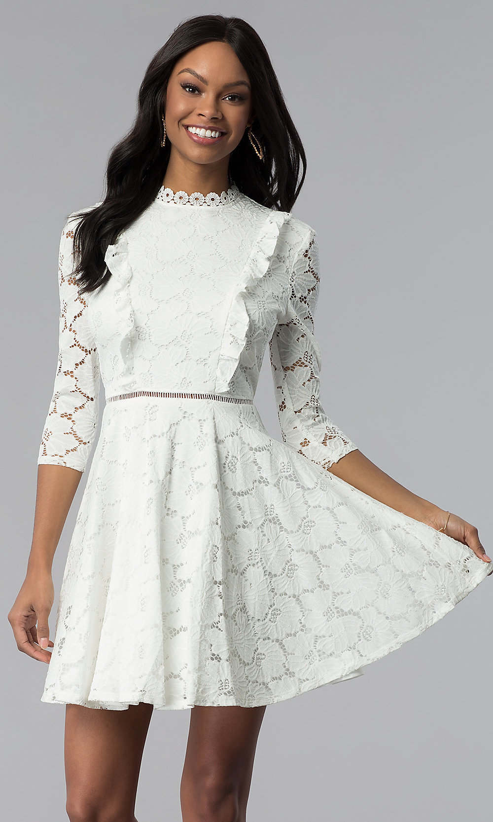 84d8f74d2f8 Lace White High-Neck Graduation Dress - PromGirl