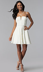 Image of multi-strap short lace graduation party dress. Style: CT-6085HP7AT3 Detail Image 3
