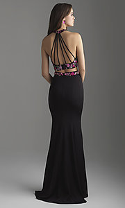 Image of strappy-back long two-piece jersey prom dress. Style: NM-18-610 Back Image