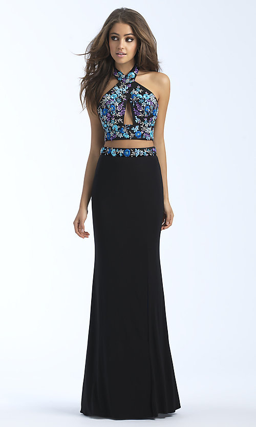 Image of strappy-back long two-piece jersey prom dress. Style: NM-18-610 Detail Image 2