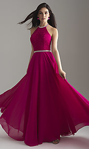Image of long chiffon halter prom dress with lace bodice. Style: NM-18-621 Detail Image 1