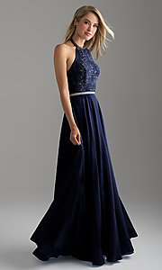 Image of long chiffon halter prom dress with lace bodice. Style: NM-18-621 Front Image