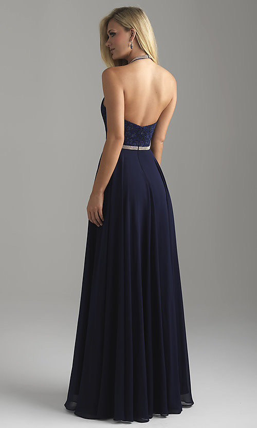Image of long chiffon halter prom dress with lace bodice. Style: NM-18-621 Back Image