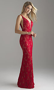 Long Lace V-Neck Prom Dress with Illusion Insets