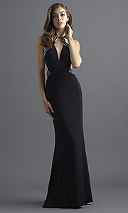 Long Jersey Open-Back Prom Dress with Beading
