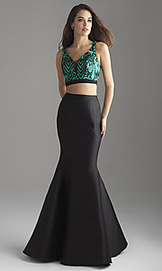 Image of Madison James two-piece mermaid prom dress. Style: NM-18-637 Detail Image 2