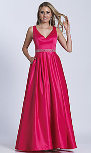 Long V-Neck Beaded Waist Prom Dress