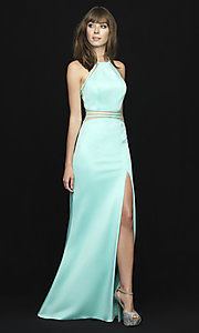 Long High-Neck Jersey Prom Dress by Madison James
