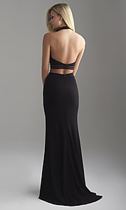 Image of Madison James two-piece open-back long prom dress. Style: NM-18-642 Back Image