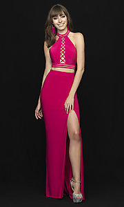 Image of Madison James two-piece open-back long prom dress. Style: NM-18-642 Detail Image 4