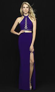 Image of Madison James two-piece open-back long prom dress. Style: NM-18-642 Detail Image 3