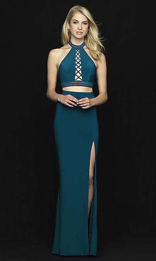Madison James Two-Piece Open-Back Long Prom Dress