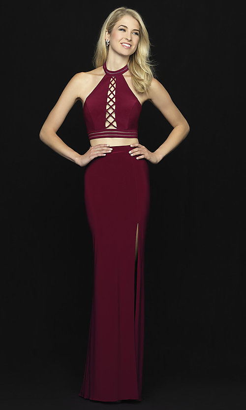 Image of Madison James two-piece open-back long prom dress. Style: NM-18-642 Detail Image 2