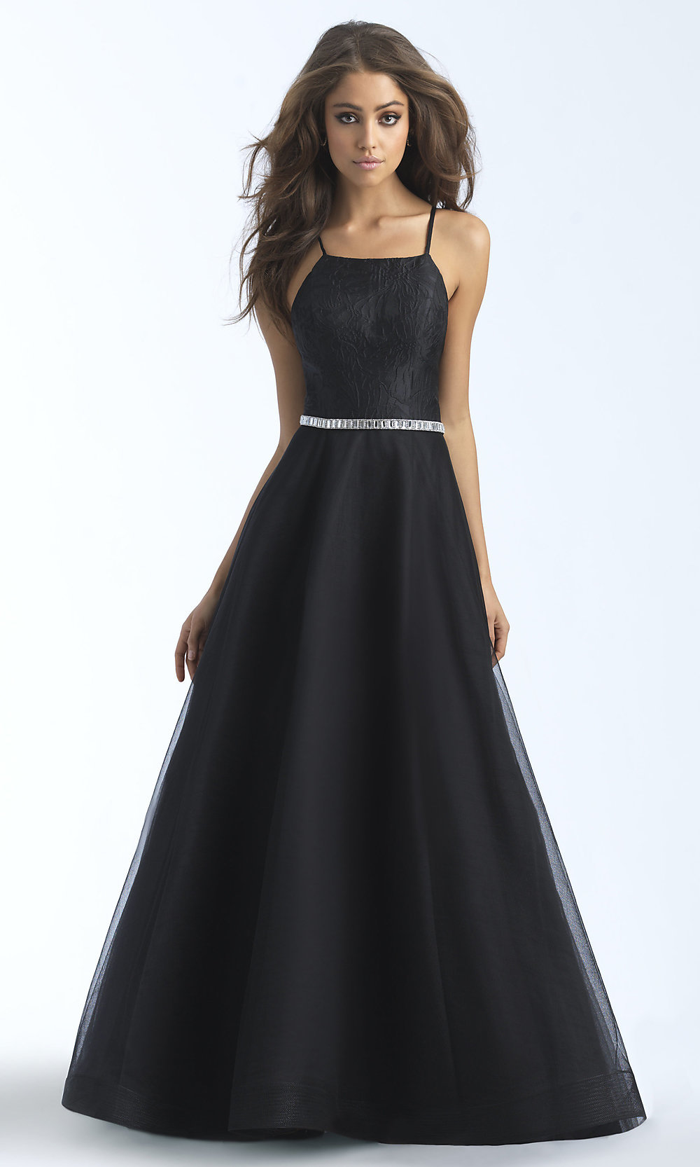 Long Straight Neck A Line Prom Dress