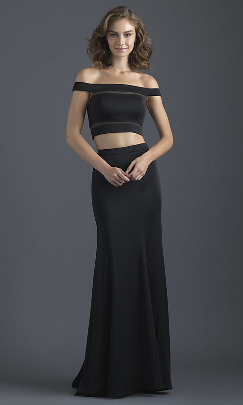 Image of off-the-shoulder prom dress with illusion insets. Style: NM-18-648 Detail Image 3