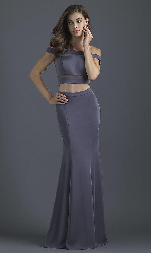 Image of off-the-shoulder prom dress with illusion insets. Style: NM-18-648 Detail Image 1