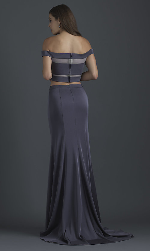 Image of off-the-shoulder prom dress with illusion insets. Style: NM-18-648 Back Image