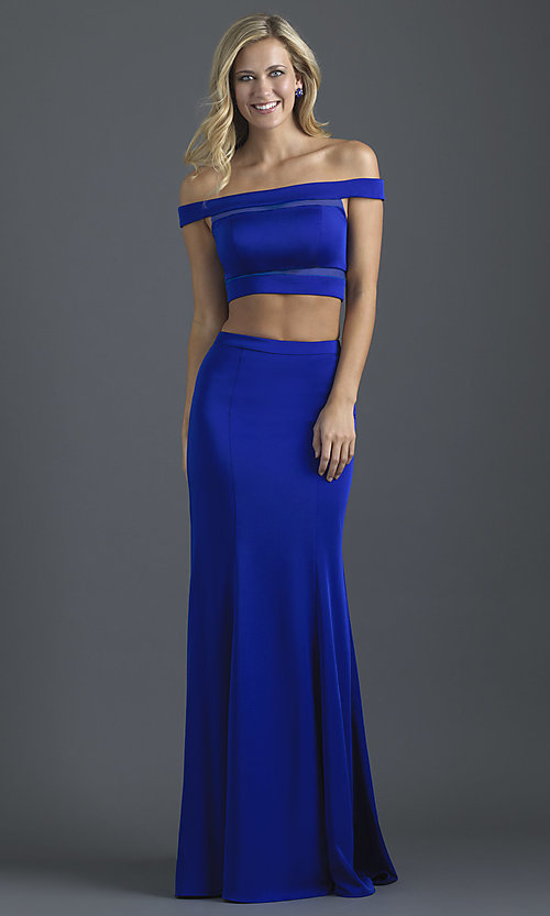 Image of off-the-shoulder prom dress with illusion insets. Style: NM-18-648 Front Image